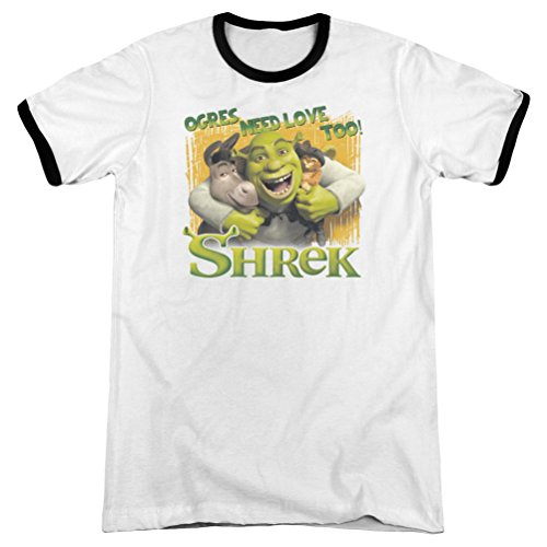 (A&E Designs Shrek Ogres Need Love Ringer Shirt, White, 2XL)