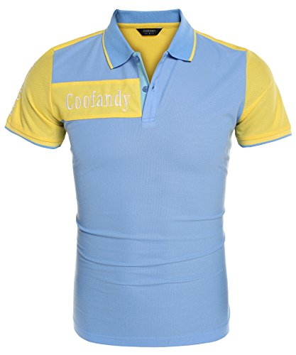 (クーファンディ) Coofandy ポロシャツ メンズ 半袖 Tシャツ ゴルフウェア スポーツ ビジネス 通勤 トップス 配色 対比色 薄手 大きいサイズ 吸汗速乾 おしゃれ カジュアル S - 3XL レッド ブルー イエロー