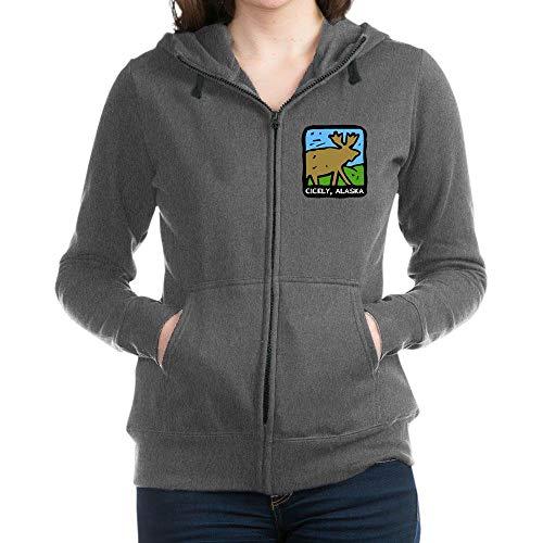 (CafePress Cicely Moose Sweatshirt Women's Zip Hoodie Charcoal Heather)