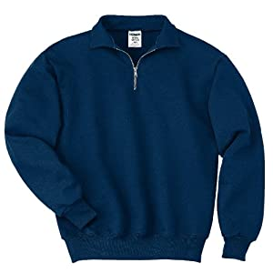 JERZEES Mens SUPER SWEATS 1/4-Zip Sweatshirt with Cadet Collar, XL, Navy