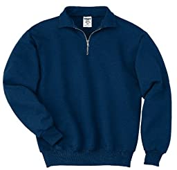 JERZEES Mens SUPER SWEATS 1/4-Zip Sweatshirt with Cadet Collar, Small, Navy