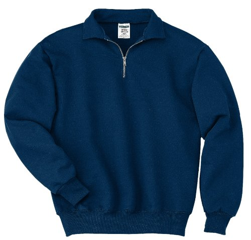 Jerzees mens 9.5 oz. 50/50 Super Sweats NuBlend Fleece Quarter-Zip Pullover(4528)-J NAVY-2XL