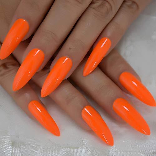 845f69a3eddcc CoolNail Pure Deep Orange Extra Long Sharp Stiletto False Nails Tips ...