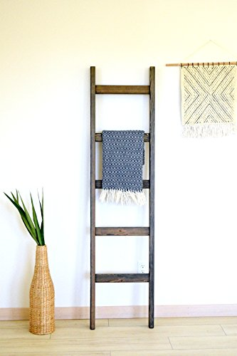 Bits + Bushel, 6 Ft Wooden Decorative Blanket Ladder | 5 Rung, Stained Carbon Gray | For Home, Stores, Quilts, Bathroom Towels, Blankets & - Rolling Stores Oaks