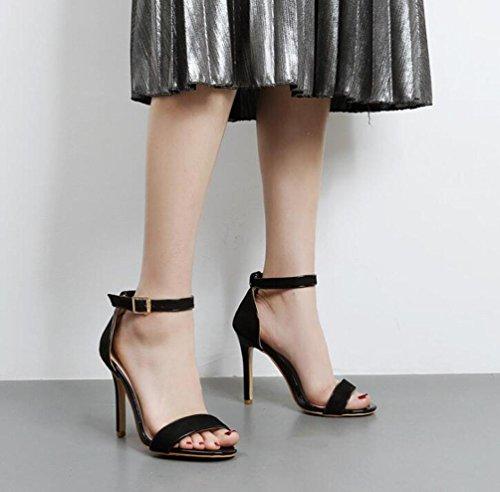 10 cm Suede hebilla tobillo correas sandalias partido tacón de aguja elegantes verano señoras abierto toe sandalias UE tamaño 35-40 apricot