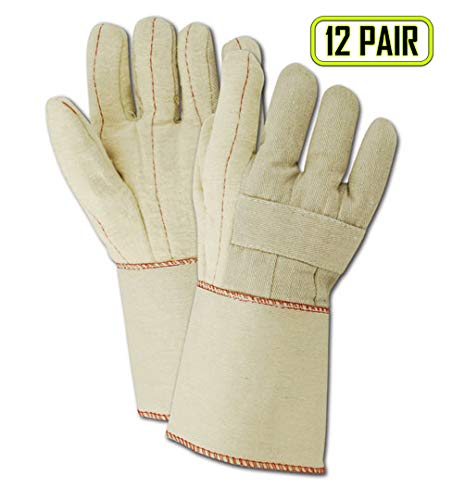 Magid Glove & Safety 198JKGT Magid Heater Beater 198KGT 26 oz. Cotton Canvas Hot Mill Gloves, Natural, Men's Jumbo (Fits XL) (12 -
