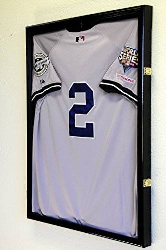 Baseball Jersey Frame Display Case Cabinet w/ 98% UV Protection -Black -