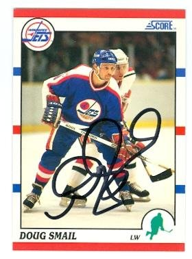 Doug Smail autographed hockey card (Winnipeg Jets) 1990 Score No.196