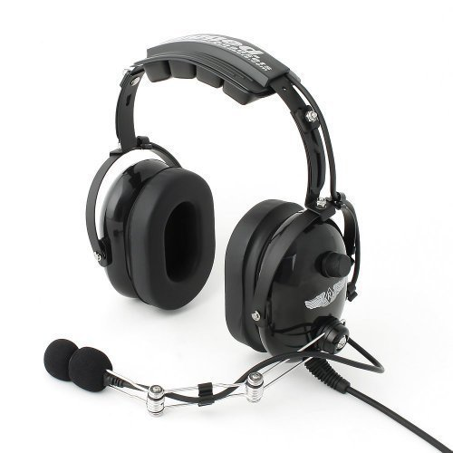 Rugged. Air RA454 Black General Aviation Stereo Pilot Headset