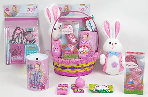 - JoJo Easter Super Large Basket, Includes JoJo Toy Bank, School Pack, Russell Stover Easter Jumbo Chocolate Bunny, Plush Bunny, Great for Girl's Easter Gift.