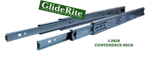 GlideRite - 1835-Z (5 Pair Pack) 18-inch 70 lb. Full Extension Ball Bearing Drawer Slides with 1'' Over-Travel by GlideRite Hardware