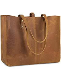 Vintage Genuine Leather Shoulder Bag for Women Tote Purse with Removable Pouch