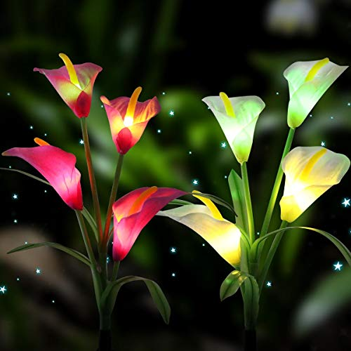 - MOICO Outdoor Solar Garden Stake Lights, 2 Pack Garden Lights Decorative Solar Powered, Multi-Color Changing Solar Flower Decoration Lights for Patio,Yard, Party, Wedding, Festival