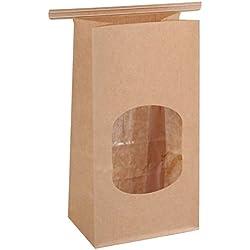 "BagDream Bakery Bags with Window Wax Kraft Paper Bags 100Pcs 3.54x2.36x6.7"" Tin Tie Tab Lock Bags Brown"