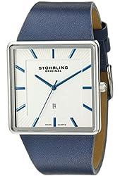 Stuhrling Original Men's 342.3315C2 Classic Ascot Saratoga Quartz Ultra Slim  Blue Leather Strap Watch