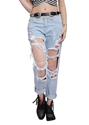 Wink Gal Women Destroyed Boyfriend Jeans Ripped Washed Denim Trousers Colour Blue Size XS