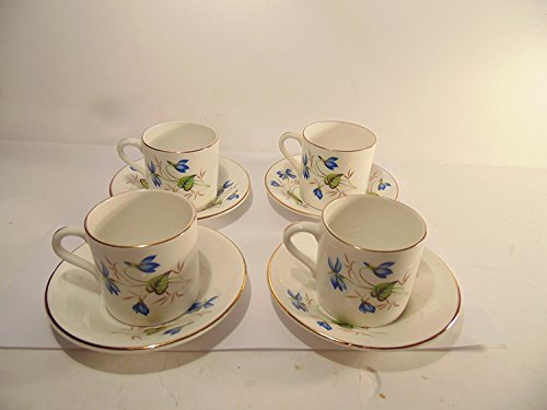 Rosina Bone China Cup (Crownford Rosina Fine Bone English China, Blue Flowers w/ Gold Accent Trim Tea Cups and Saucers, Set of 4)