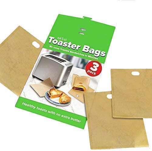 ekSel Toaster Bags Gluten Free Toasts Reusable Non-Stick Any Size Bread FDA Approved 3 Pack