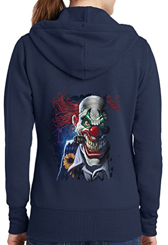 Womens Joker Clown Full Zip Hoodie, Navy, 2X