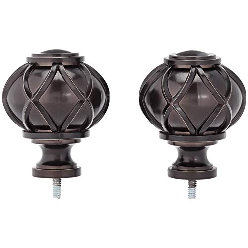 AmazonBasics Round Capped Curtain Rod Finials - Set of Two, Bronze