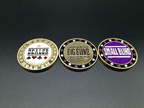 Set of 3 Metal Poker Buttons - Dealer, Small Blind, Big Blind