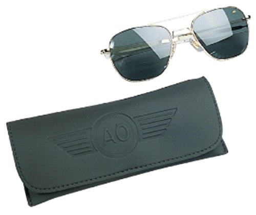 American Optics Flight Gear Original Pilot Sunglass, 57-mm Gold Frame with Bayonet Temples, True Color Grey Glass Lens made in Massachusetts