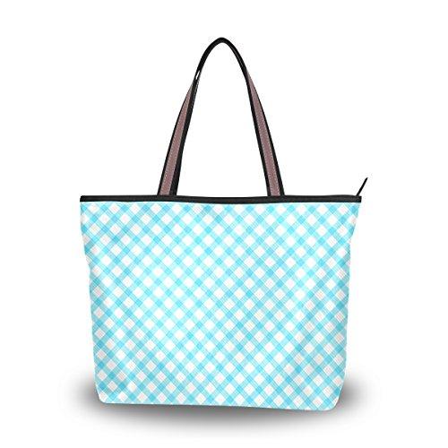 My Daily Women Tote Shoulder Bag Blue Gingham Plaid Checkered Stripe Handbag Medium - Gingham Plaid Tote