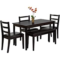 Best Choice Products 5-Piece Wood Dining Table Set w/ Bench, 3 Chairs Dinette - Brown