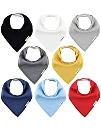 Baby Bandana Drool Bibs for Boys and Girls, Organic, Plain colors, Unisex 8 Pack Baby Shower Gift Set for Teething and Drooling, Soft Absorbent and Hypoallergenic ( Solid Colors )