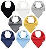 TheAZBaby Baby Bandana Drool Bibs for Boys and Girls, Organic, Plain colors, Unisex 8 Pack Baby Shower Gift Set for Teething and Drooling, Soft Absorbent and Hypoallergenic ( Solid Colors ): more info