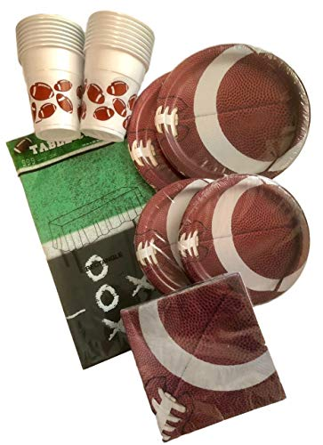 65 Piece Super Bowl - Football Party Paper Plates, Napkins, Plastic Cups, Football Field Tablecloth Bundle, Serves 16 - Tailgate Party Supplies and Accessories