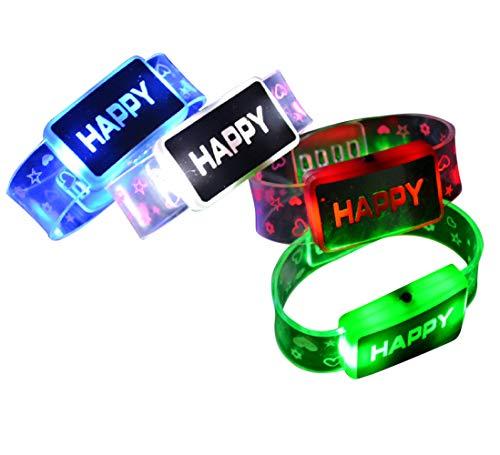 LED Light Up Flashing I'm Happy Bracelets Wristbands by Mammoth Sales (12 PC)