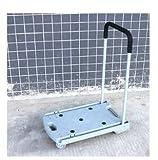 Lightweight Plastic Flatform Dual Carry Handles 4-wheel Foldable Cart 100kg/220LB Capacity Trolley Grey