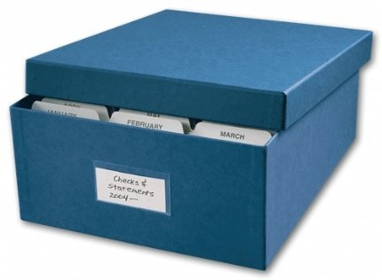 "Price comparison product image ABC Check Storage Box w/ 12 Dividers, 12"" x W 9-7/8"" x H 4-5/8"", Blue"