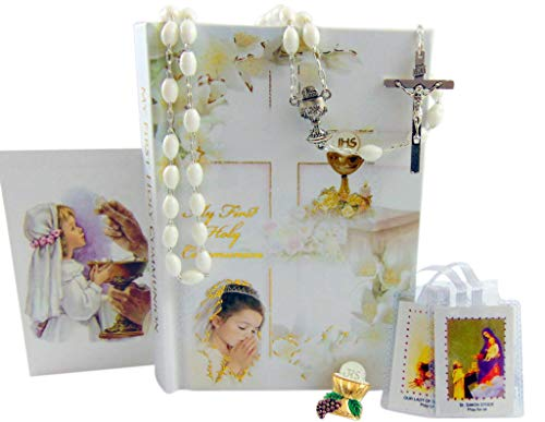 Westman Works First Holy Communion Complete Set for Girls Prayer Book in a Plastic Cover with Rosary Holy Card and Scapular