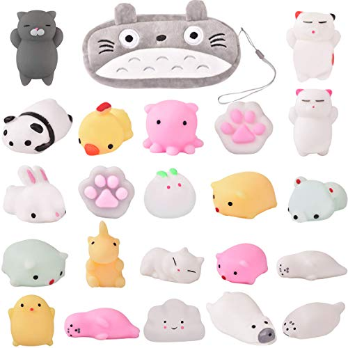(Mochi Squishy Toys-22Pcs Pack Kawaii Animal Squichies Toys Panda Squishys Kawaii Squishys Cat Stress Reliever Toys FREE Kawaii Cat Carrying Bag Fun Birthday Present Party Favor)