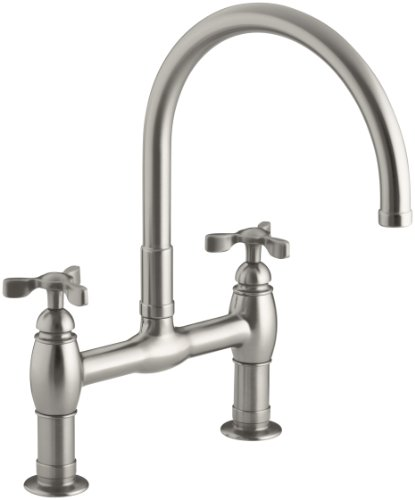 KOHLER K-6130-3-VS Parq Deck-Mount Kitchen Bridge Faucet, Vibrant Stainless