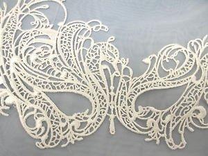 (White Swan Venetian Mask Masquerade Fabric Macrame Filigree Lace Costume)