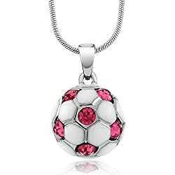 White Soccer Ball Crystal Pendant with Snake Chain