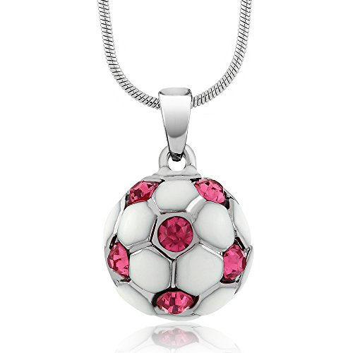 Stunning White Soccer Ball with Pink Crystals Pendant and 16