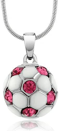 Gem Stone King Stunning White Soccer Ball with Pink Crystals Pendant and 16inches Snake Chain