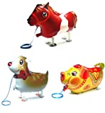 PartynBalloon ™ 3 Assorted Walking Cute Horse Jungle Fawn Pig Animals Pet Party Helium Balloon Combo X213A Mobile Phone Apps Special Edition