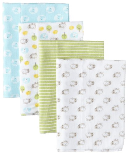 Gerber Unisex-Baby Newborn 4-Pack Flannel Burp Cloths
