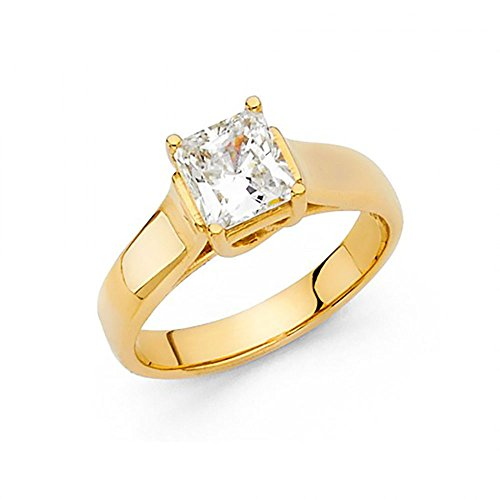 (American Set Co. 14k Yellow Gold Princess Cut CZ Trellis Solitaire Engagement Ring )