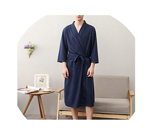 Men Woman Bathrobe Dressing Plus Size XXXL Lovers Summer Nightgowns Couple Autumn Waffle,Male -