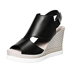 Solid Color Wedge Sandals Summer Fashion Fish Mouth Flat High Heel Casual Sandals Ladies Summer Open Toe Sandals Meeya Black
