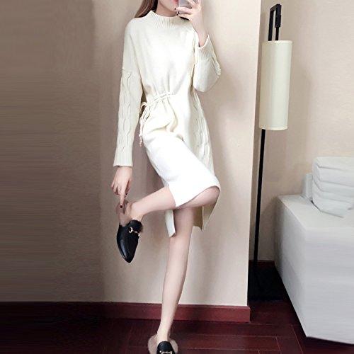 Falda Otoño Suéter Collar ZHUDJ Señoras Temperamento S Cintura Vestidos Respaldo Largo Vestido Blanco S Tejidas De x0BBnwz