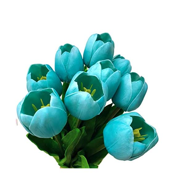 Floral Kingdom 19″ Real Touch Latex Tulips for Artificial Flower Arrangements, Bridal Bouquets, Home/Office Decor (Pack of 8) (Robin's Egg Blue)