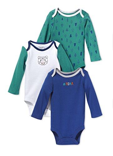 LAMAZE Organic Baby Baby Pure Organic Cotton Boys Longsleeve Bodysuits, 3 Pack, Blue, 12M