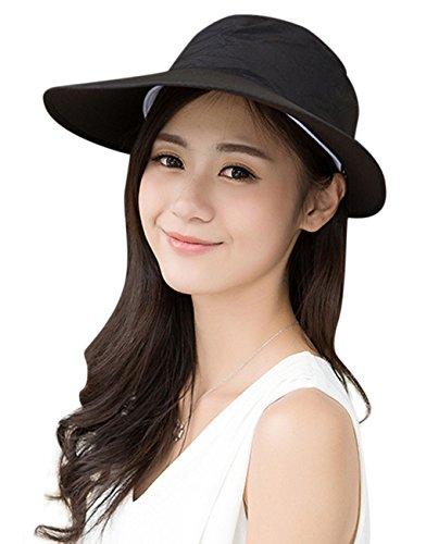 FakeFace 夏 レディース 帽子 UVカット ファッション アウトドア用品 つば広 サンバイザー 紫外線対策 日よけ帽子 自転車 オシャレ ケープ ハット 日焼け止め カジュアル ぼうし レディース日よけ帽子 uvカットブラック